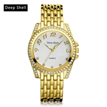 Deep Shell New Brand Gold Serpentine Stainless Steel Watch Quartz Ladies WristWatches Women Fashion Luxury Dress Watch DS005