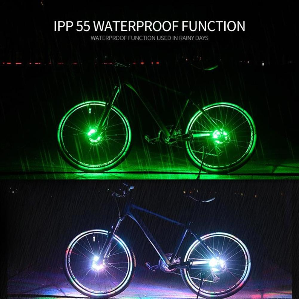 Rechargeable 8 LED Spoke Wheel Hub Light Warning Lamp For Bike Bicycle Cycling