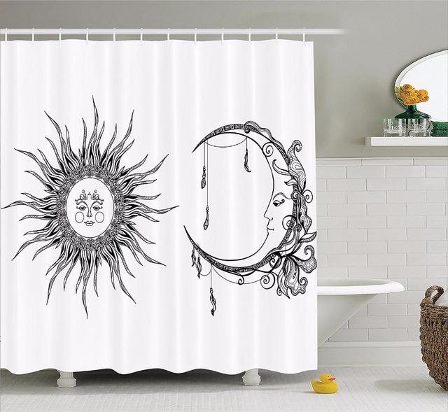 High Quality Arts Shower Curtains The Moon Sun Cartoon Character Design Sketch Bathroom Decorative Modern