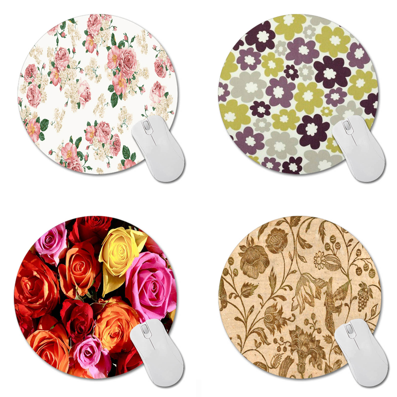 MaiYaCa Floral Vintage Printing Round Rubbergaming Mouse Pad 20cm 20cm