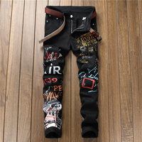 2019 nightclub stage clothes denim jeans for men printing slim fit black jean homme young personality skinny pants masculina man