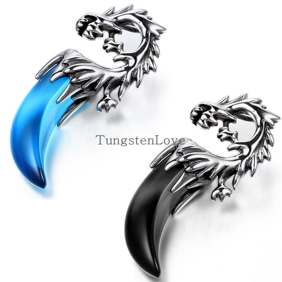c29e9abe023 BONISKISS Tribal Mens En Acier Inoxydable Dragon Dent Pendentif Collier  Garçons hip hop pendentif colgantes hombre Bleu et Noir sélection