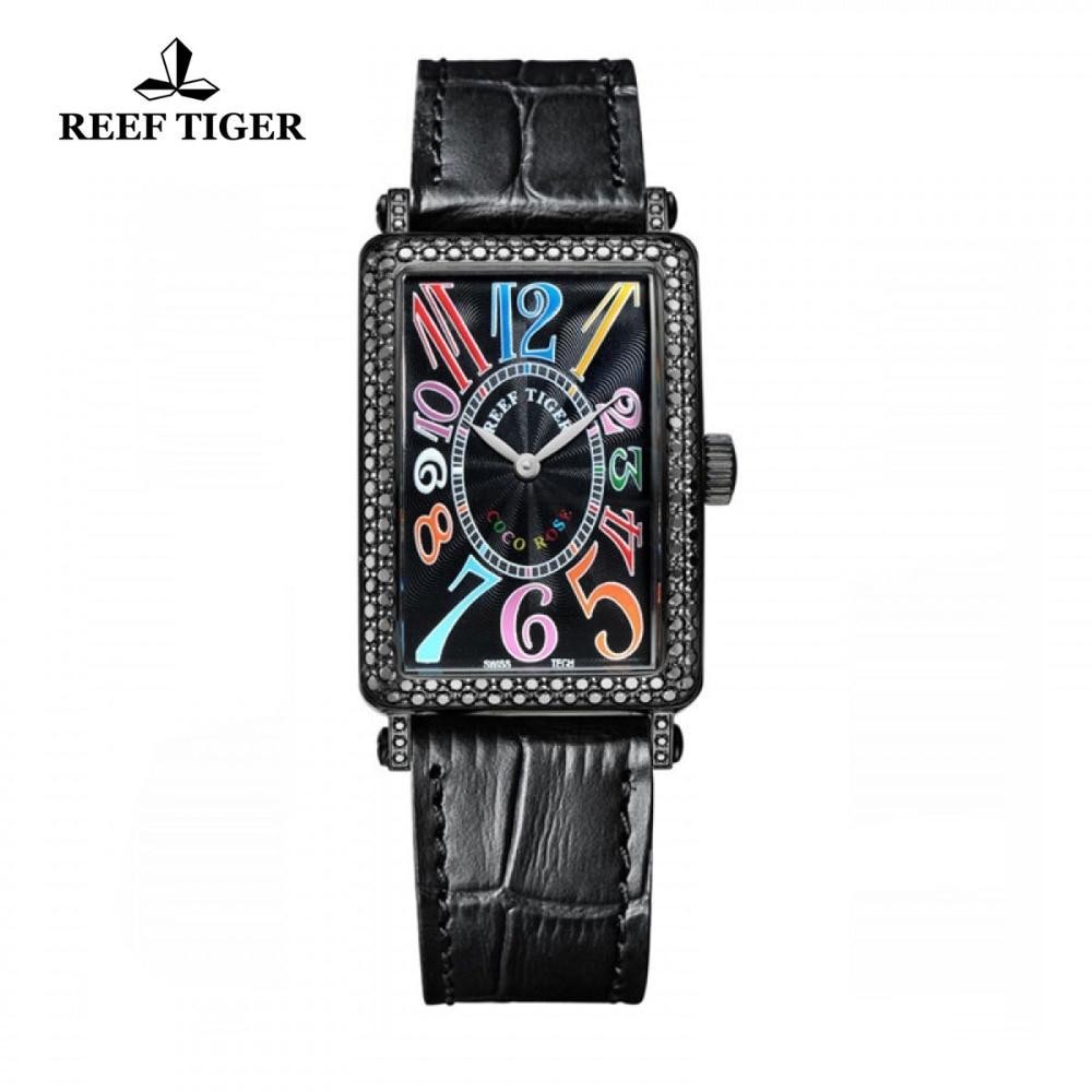 Reef Tiger/RT Watches Fashion Casual Watch Rectangular Black PVD Watches for Women Diamonds Bezel Black Dial Quartz Watch RGA172 2x yongnuo yn600ex rt yn e3 rt master flash speedlite for canon rt radio trigger system st e3 rt 600ex rt 5d3 7d 6d 70d 60d 5d