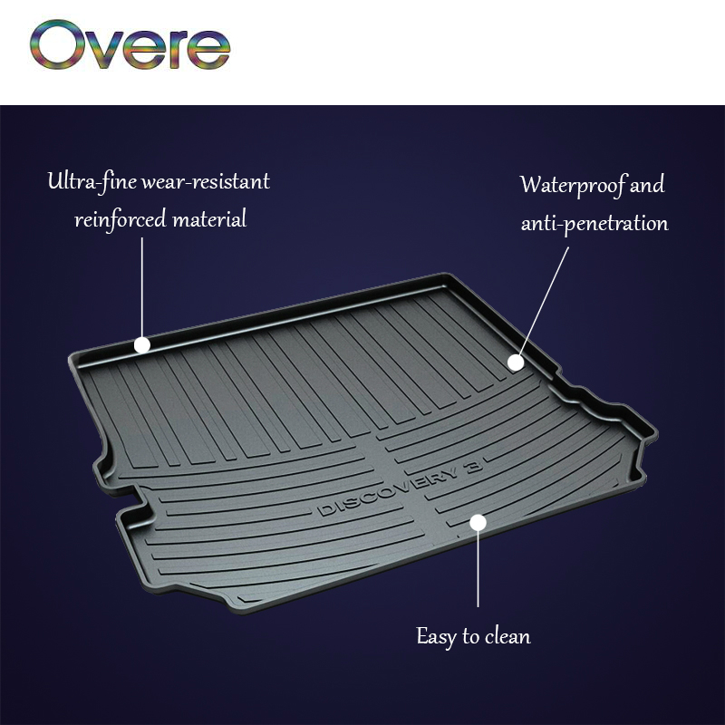 Overe 1Set Car Cargo trunk mat For Land Rover Discovery 3 4 L550 Freelander 2 Range Rover Sport Evoque Anti-slip mat Accessories custom fit car floor mats for land rover discovery 3 4 freelander 2 sport range sport evoque 3d car styling carpet liner ry217