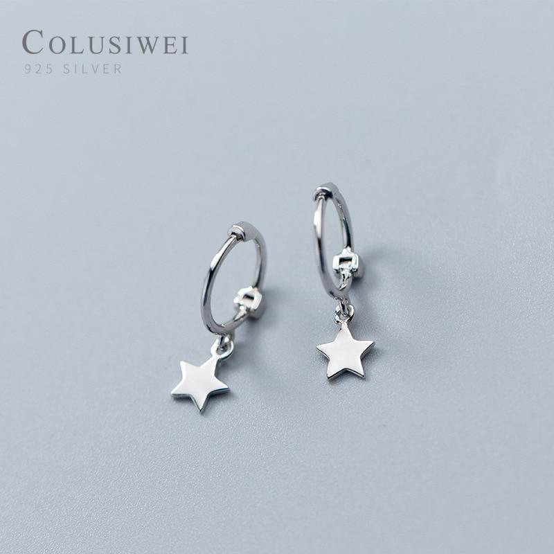 Colusiwei New Sale Shiny Stars Round Dangle Earrings for Women Sterling Silver Female Fashion Fine Jewelry Women Gift Orecchini
