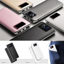 Mini Portable Mobile Power Dual USB LCD Digital Display 20000mAh Power Bank With LED Light For iPhone Samsung Xiaomi iPad