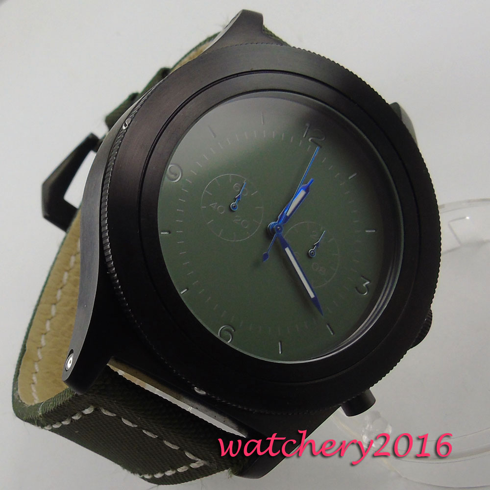 big sale <font><b>52mm</b></font> parnis Green dial big face PVD Full chronograph quartz mens <font><b>watch</b></font> image