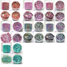 28 Designs Nail Flake Powder 50g/bag Mix Hexagon Glitter Flakes Dust Manicure Decoration 50 Holographic Flaks For Art#