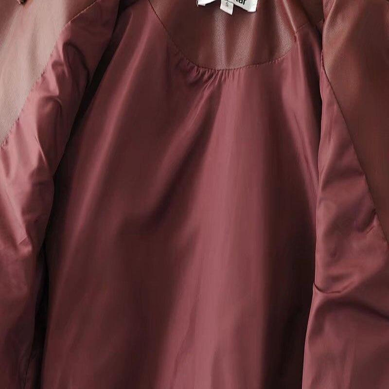 Para De Mujer Cuero Chaquetas Abrigos Cremallera Borgoña Y Moda wine Otoño Red Botón Black Abrigo Bolsillo Chaqueta Ropa Pu Calle Negro Con 2018 xYqwxEXp