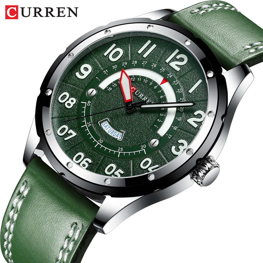 CURREN Casual Business Leather Strap Watch For Men Luxury Brand Military Green Clock Men Quartz Wristwatch Male Calendar Watch