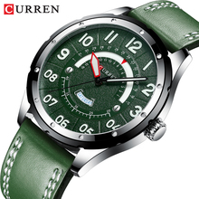 CURREN Casual Business Leather Strap Watch for Men Luxury Brand Military Green Clock Men Quartz Wristwatch Male Calendar Watch