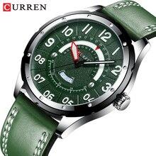 CURREN Casual Business skórzany pasek zegarka dla mężczyzn luksusowych marek zielony wojskowy zegar mężczyźni kwarcowy zegarek męski zegarek z kalendarzem