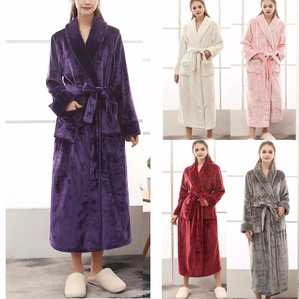4b27419d9a Women s Winter Lengthened Coralline Plush Shawl Bathrobe Long Sleeved Robe  Coat 11.1