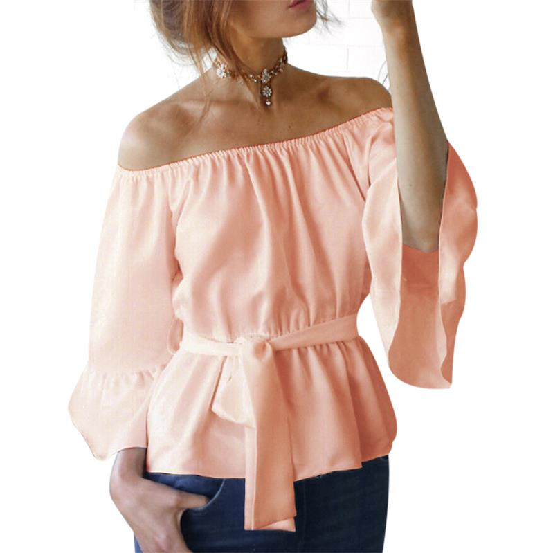 Sexy Womens Off Shoulder Blouse Shirt 2018 New Summer Tops Casual Stretch Flare Sleeve Shirts Front Tie Female Blouses