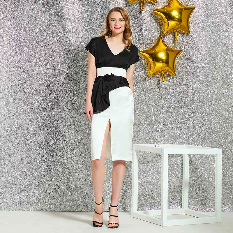 Tanpell v neck cocktail dress short sleeves knee length zipper up sheath gown women party custom sheath cocktail dresses in Cocktail Dresses from Weddings Events