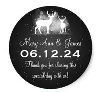 1 5inch Wedding Favor Tag Winter Deer Sparkle Black Classic Round Sticker