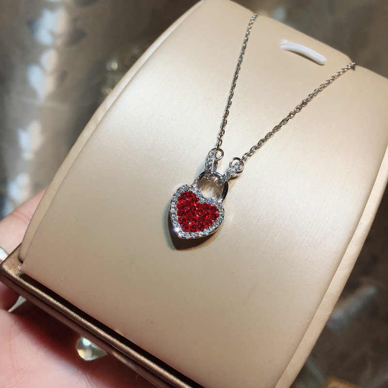 Quality Women Statement Necklace Hot Selling Double Sided Zircon Heart Pendant 925 Sterling Silver Link Necklace