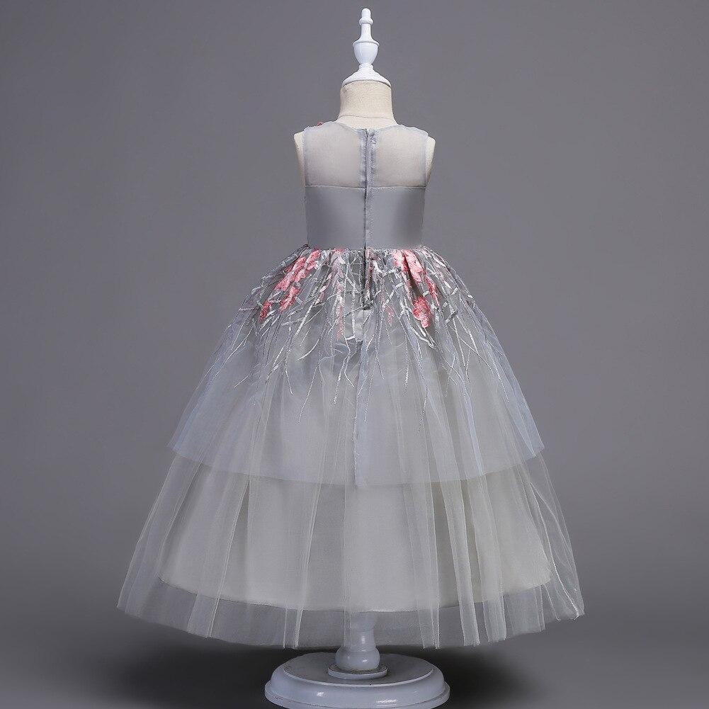 Boutique longue robe de princesse 5-16 ans fille robe de soirée première Communion décorations de fête élégante fleur fille robe de mariée - 4