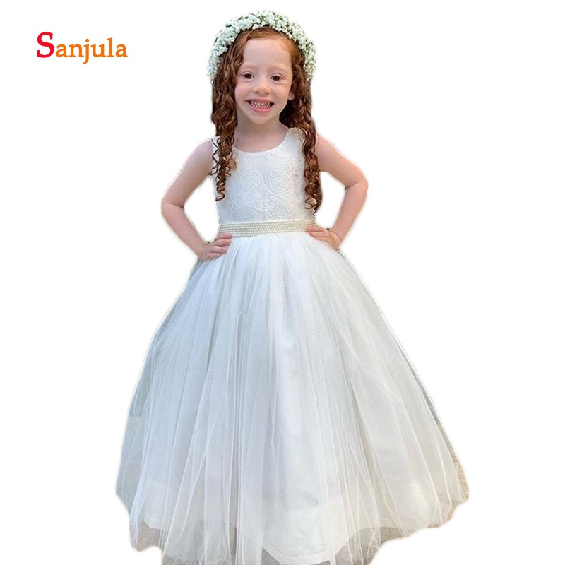 Ivory Tulle   Flower     Girls     Dresses   Puffy A-Line Pearls Waist Cute First Communion   Dresses   Lace Child Wedding Party Gowns D754