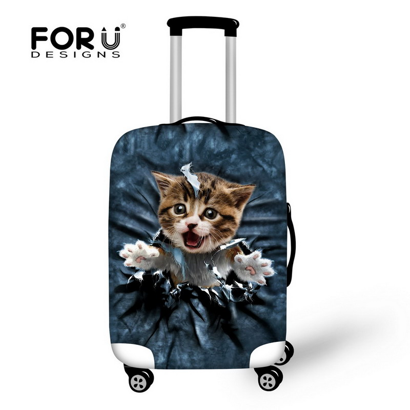 FORUDESIGNS Jeans Design Luggage Protective Cover 3D Cute Denim Cat Dog Prints Spandex Travel Accessories Waterproof Rain Covers ...