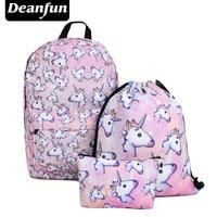 Deanfun 3PCS Set Women Printed Unicorn Backpack School Bags For Teenage Girls Shoulder Drawstring Bags