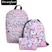 Deanfun 3 개/대 여자 십대 소녀 어깨 drawstring 가방에 대 한 유니콘 배낭 학교 가방 인쇄