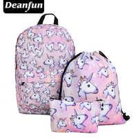 Deanfun 3 pz/set Donne Stampato Unicorn Zaino Borse da Scuola Per Adolescente Ragazze di Spalla Borse Coulisse