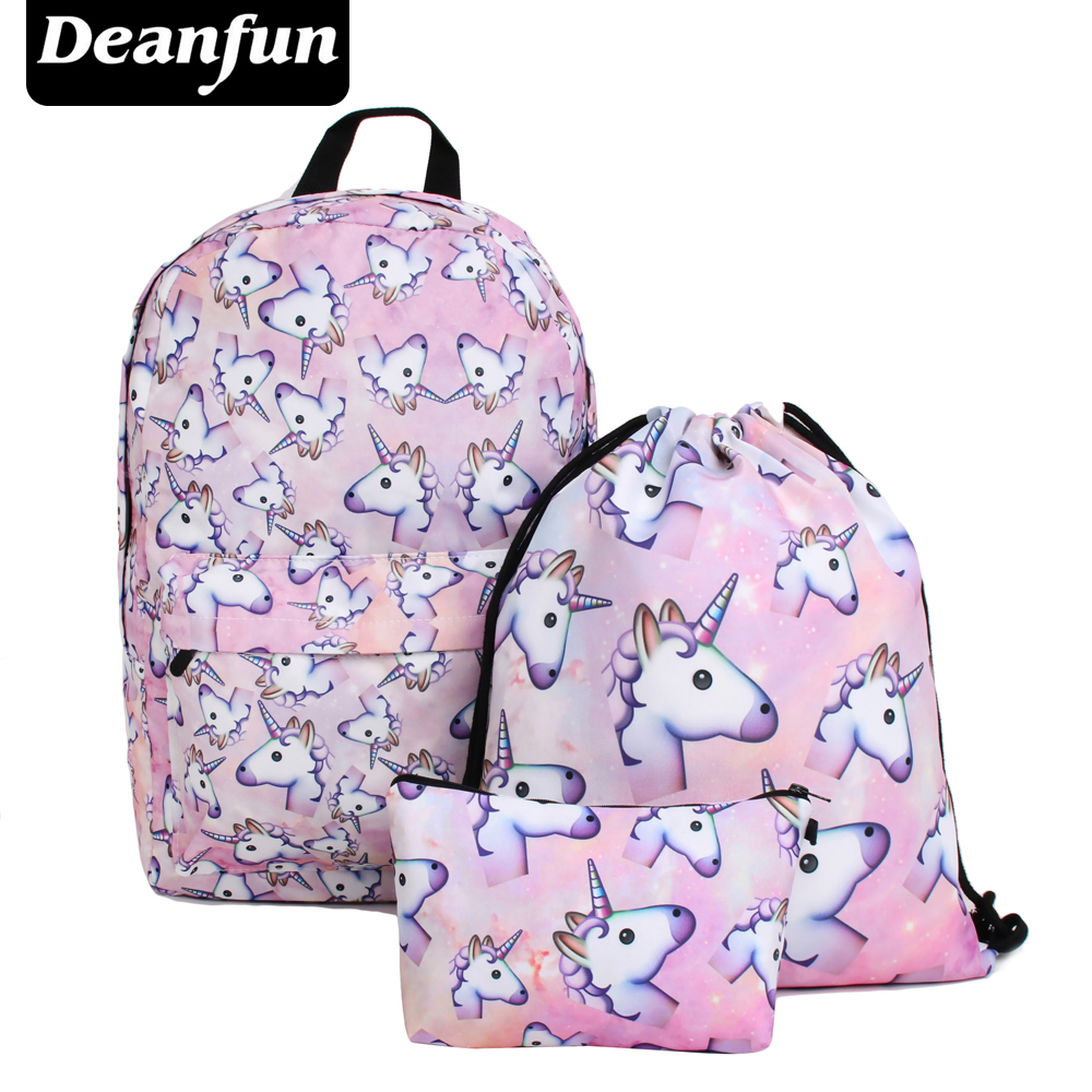 Deanfun 3PCS /set Women Printed Unicorn Backpack School Bags For Teenage Girls Shoulder Drawstring Bags
