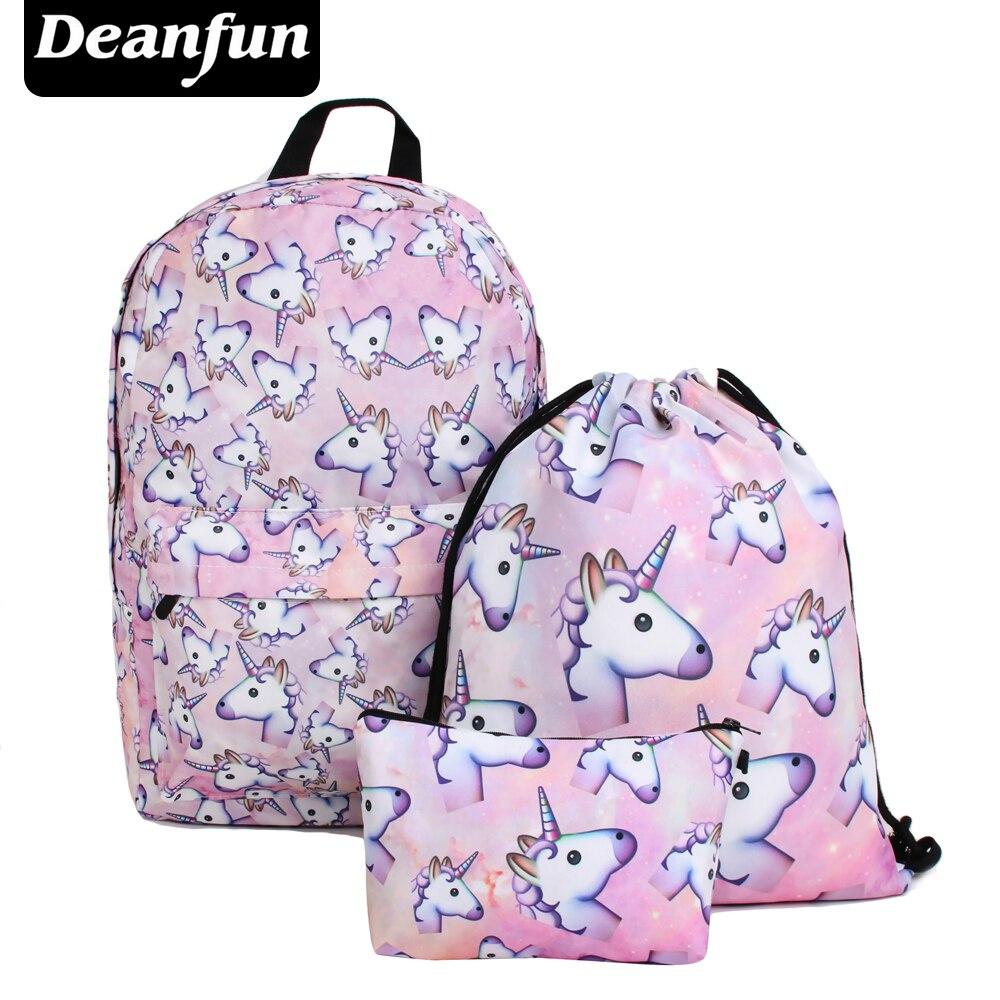 Deanfun 3PCS /set Women Printed Unicorn Backpack School Bags For Teenage Girls Shoulder Drawstring Bags