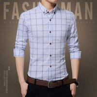 2017 New Brand Camisas Para Hombre Shirts Men Long Sleeve Fashion Slim Fit Cotton Style Autumn