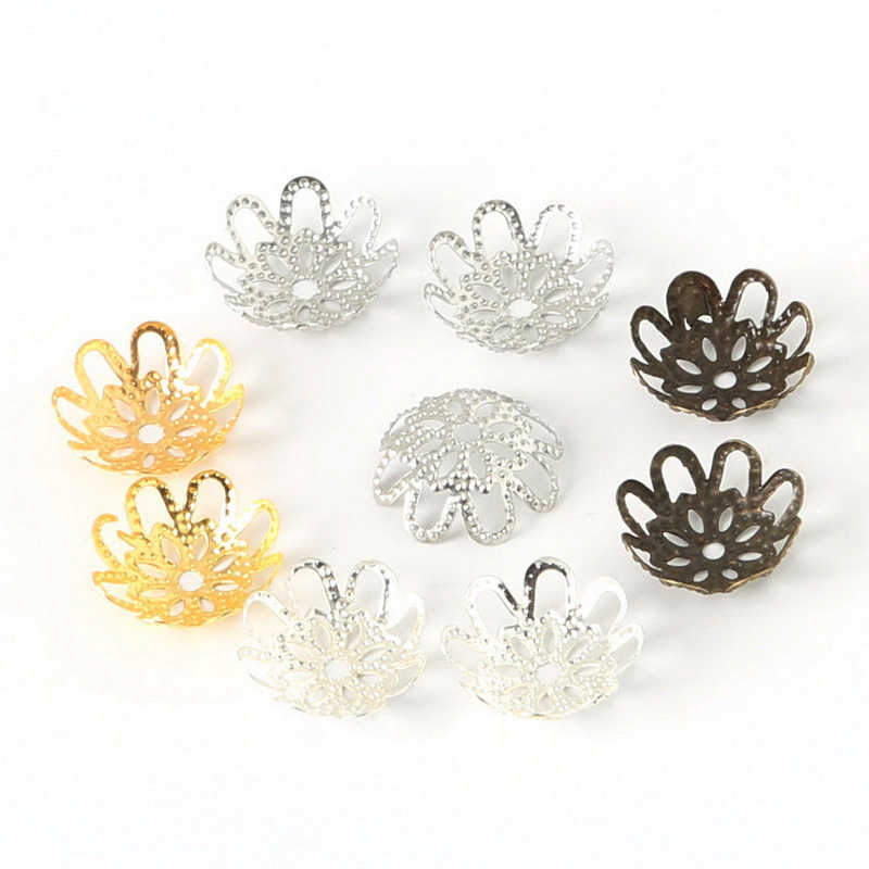 DIY Jewely Findings Hollow Flower Metal Filigree Loose Spacer Bead Caps Silver Gold Bronze 200pcs /lot 3x14mm