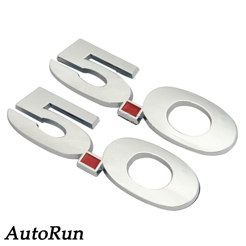 Ford Mustang White Chrome 5.0 High Performance Emblem