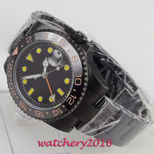 цена 40mm Bliger sterile black Dial Top Brand mechanical Sapphire Glass GMT ceramic Bezel PVD Luminous Automatic Movement men's Watch онлайн в 2017 году