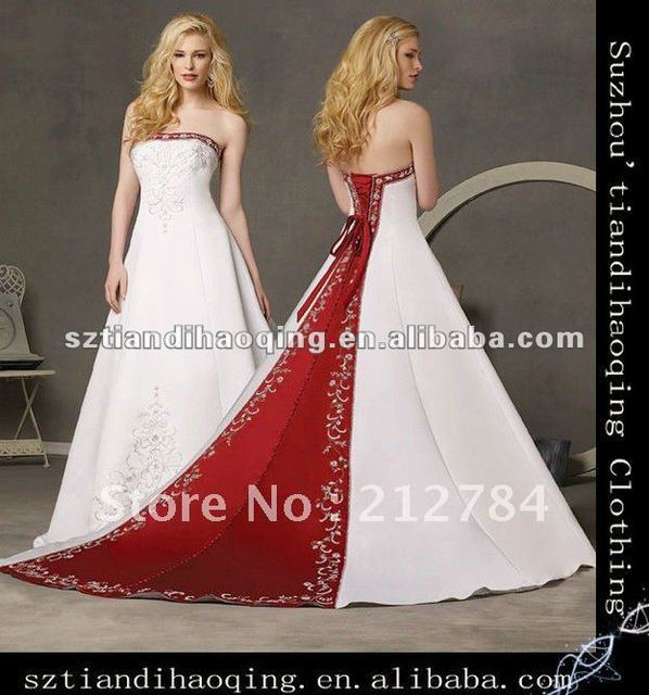 High Neckline Strapless A Line With Two Color Embroidered Satin