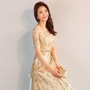 Image 5 - DongCMY ארוך פורמליות מקסי נצנצים ערב שמלות 2020 זהב צבע רוכסן אופנה נשים המפלגה ביצועי שמלה