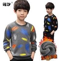 Boys winter long sleeve T Shirt Children velvet Clothing boys plush in side shirt kids tops 4 13T teenage winter warm clothes
