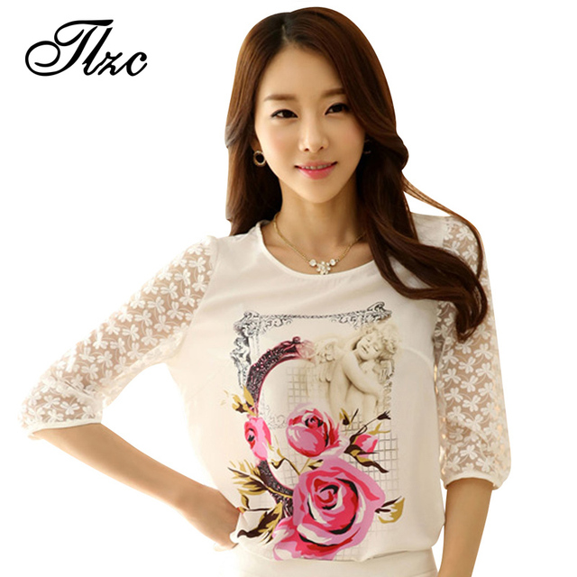TLZC 2017 Summer Style Lady T-shirts Half Lace Sleeve Size S-2XL Super Star Same Style OL / Women Printed Tees White Color Tops
