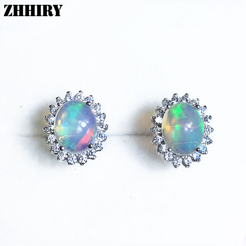 Women Natural Color Opal Gemstone Stud Earrings Genuine 925 sterling silver Fine Jewelry 7*9mm ZHHIRY