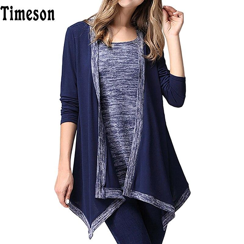Timeson Blouses Women 2017 Spring New Fake Two Piece Shirt Ladies Print Irregular Long Sleeve Shirt