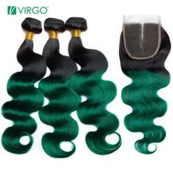 Дева волос Ombre Связки с закрытием T1B/зеленый темные корни Бразильский объемная волна 100% натуральные волосы ткань расширения Волосы remy