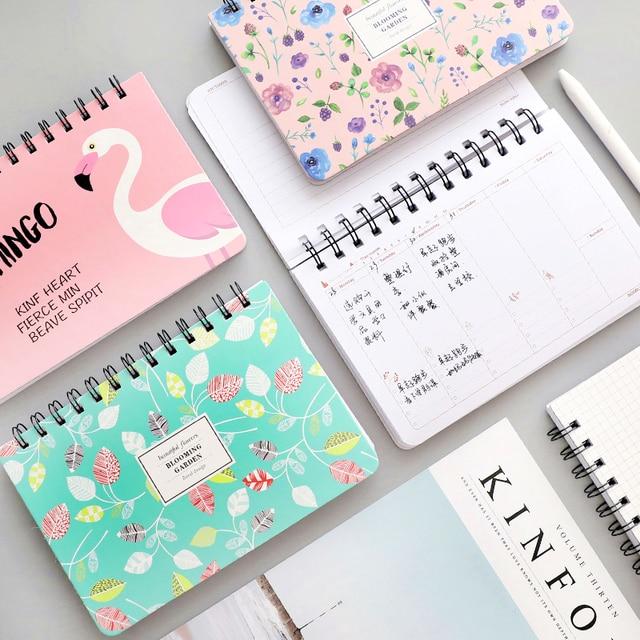2018 Japan And Korea Kawaii Cat Cute Creative Flamingo Daily Weekly - school agenda