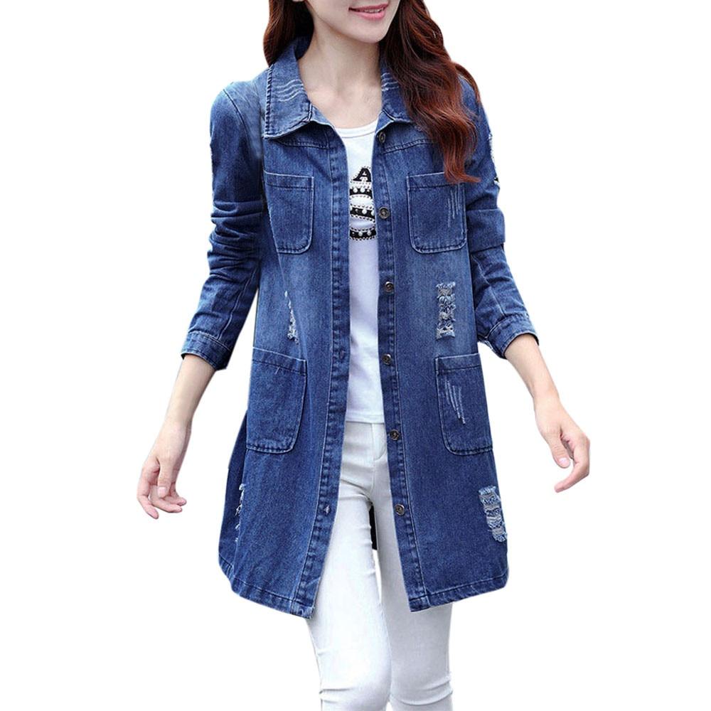 ChamsGend 2017 Hot Sale Women Fashion Long Sleeve Denim Jacket Long Jean  Coat Outwear Overcoat   23b60815dd79