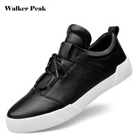 WalkePeak 100 Genuine Leather Mens Skateboarding Shoes Male Lace Up Outdoor Sport Sneakers Walking Shoes For