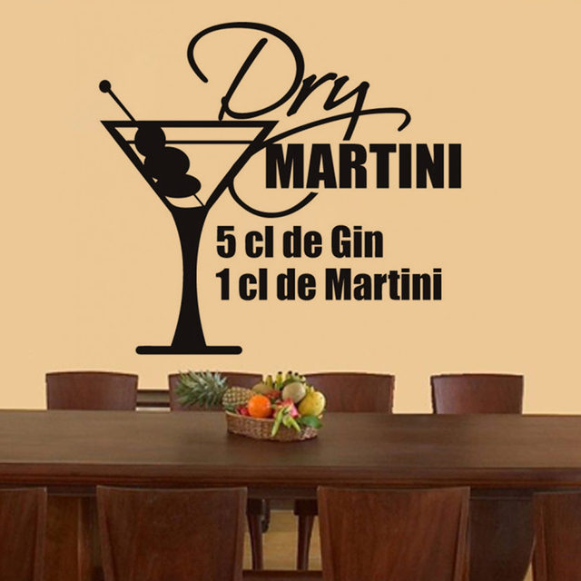 French Tail Dry Martini Sticker Restaurant Kitchen Removable Vinyl Wall Stickers Diy Home Decor Waterproof Wallpaper