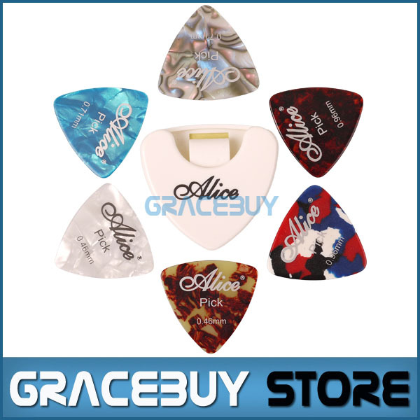 Alice Celluloid Triangle Guitar Picks And Holder 6 Pcs Guitarpicks Plectrums With 1 Case New