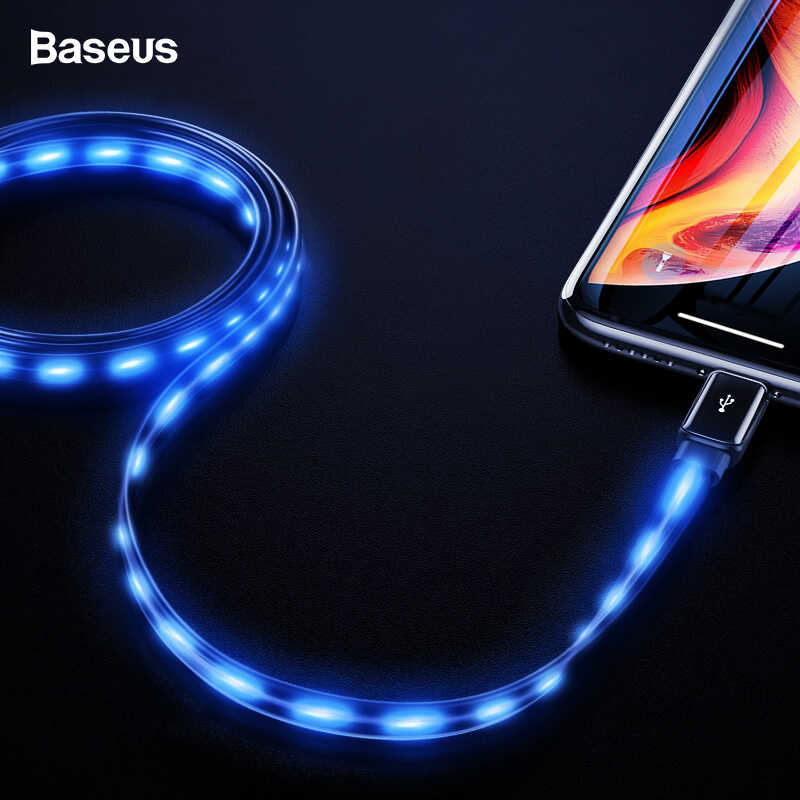 Baseus แบนไหลสาย USB เรืองแสงสำหรับ iPhone XS Max XR X 8 7 6 6s Plus 5 5s se Fast Charger Charger Led สาย