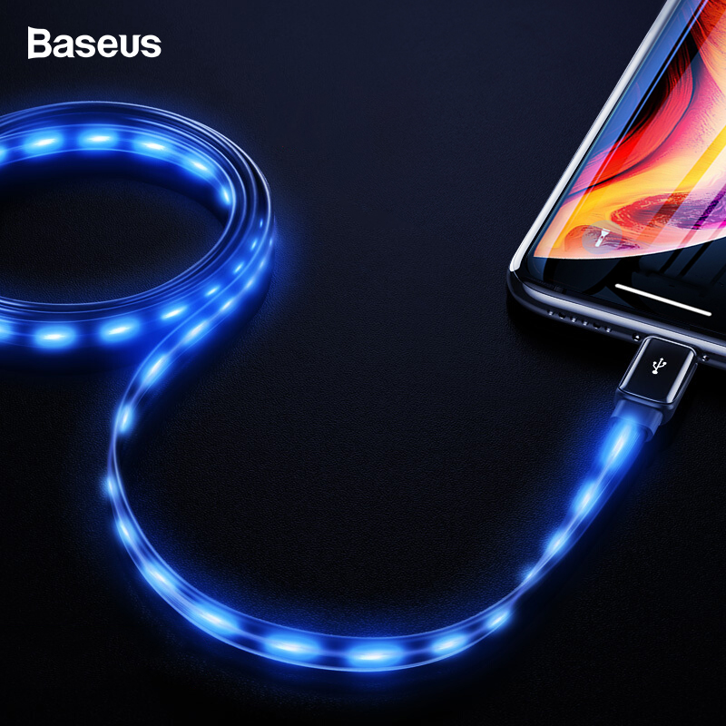Baseus Flat Flowing Glow USB Cable For iPhone XS Max XR X 8 7 6 6s Plus 5 5s se Glowing Fast Charging Charger Led Lighting Cable-in Mobile Phone Cables from Cellphones & Telecommunications on AliExpress
