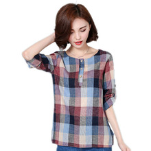 Fashion Women Blouses Shirts Casual Clothes Long Sleeve Cotton and Linen Women Tops Plaid Blouse Big Size S4031
