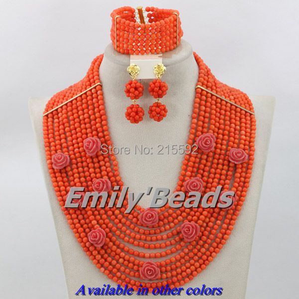 Pink African Coral Beads Jewelry Set Nigerian Wedding Costume African Beads Jewelry Set 12 Layers Wholesale Free shipping CJ177 classic royal blue african costume beaded jewelry set handmade 3 layers nigerian beads wedding jewellry set free shipping 10057