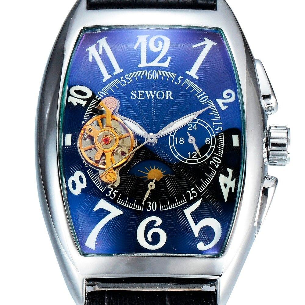 где купить SEWOR Luxury Brand Automatic Mechanical Watch Men Design Moon Phase Square Leather Skeleton Watches Auto Date Business Watch по лучшей цене